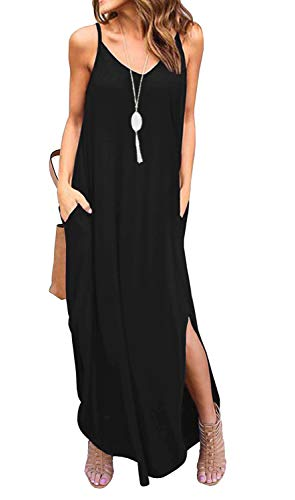 ANIXAY Women's Summer V Neck Long Cami Casual Beach Cover Up Maxi Dresses with Pocket