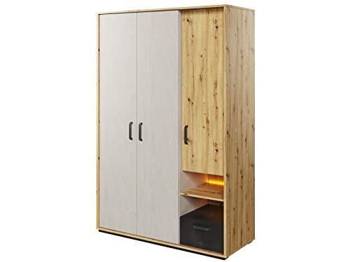 Preisvergleich Produktbild Furniture24 Kleiderschrank Qubic QB-02,  Schrank,  3 Türiger Jugendzimmerschrank mit Kleiderstange,  Schubladen,  Einlegeboden und LED Beleuchtung