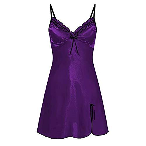 FIDOZ Damen Sexy Satin Bowknot Babydoll Lingerie Negligee Dessous Sleepwear Pyjama Kleid Nachtwäsche Nachthemd Nachtkleid Große Größe Tiefer V-Ausschnitt Einfarbig Nightgown Unterwäsche