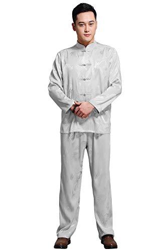 KIKIGOAL Mens Martial Arts Kung Fu Uniform Long Sleeve Tang Suit With Dargon Pattern (L, Grey)