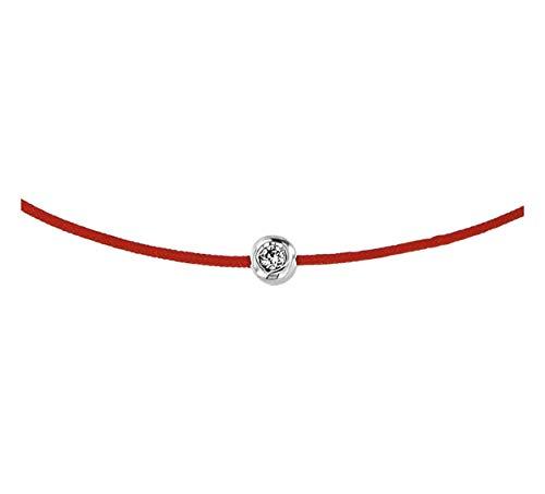 Pulsera de cuerda roja con oro y diamante, protege del mal de ojo y representa protección, buena suerte, fuerza y conexión.