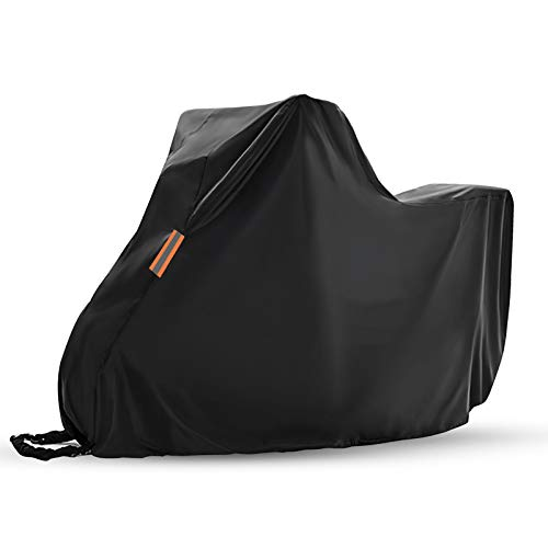 Flymer Waterproof Motorcycle Covers with Lock Holes, 420D Oxford Heavy Duty Motorbike Storage, Moped Scooter Cover with Reflective Strips, Black (245x105x125cm)