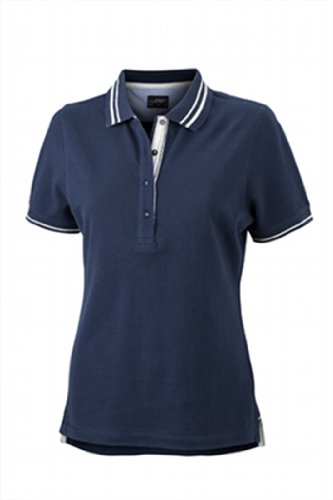 James & Nicholson Damen Poloshirt Ladies' Lifestyle Medium navy/off-white