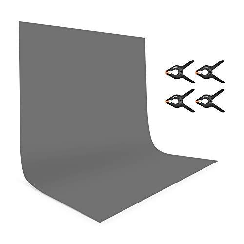 UTEBIT Photo Hintergrund 1.8x2.8M/6x9FT Anti-Falten Gray Backdrop Polyester Faltbare Hintergrundstoff mit 4 Stück Leimzwingen Groß Klemmen für Hintergrundsystem Photo Fotografie Videoaufnahme