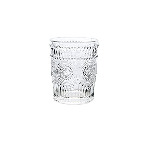 Copa de flor de sol retro Copa de cristal en relieve en relieve de cristal de cristal de cristal Bebida fría Taza de jugo de taza de vino (Color : A)