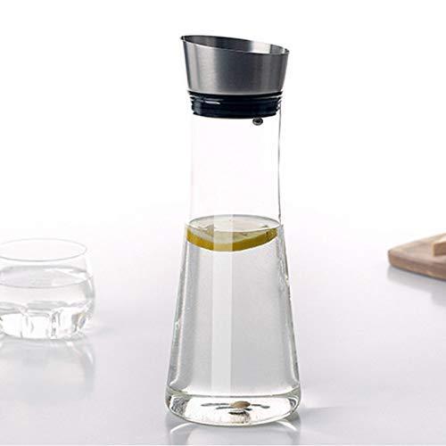 GUOCAO Hervidor de agua frío de vidrio de vidrio resistente al calor 1 litro botella de agua fría con tapa anti-fugas laterales 1000 ml de cerámica