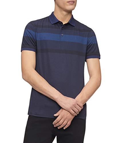 Calvin Klein Polo Liquid Touch Stripe para Hombre con protección UV, Piloto, Medium