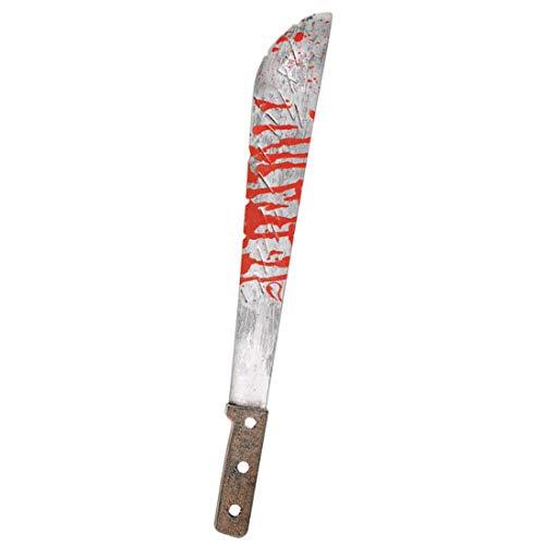 Amakando Gruseliges Busch-Messer mit Blutspritzern / 51,5cm / Blutverschmierte Machete für Machete / Ideal zu Halloween & Gruselparty