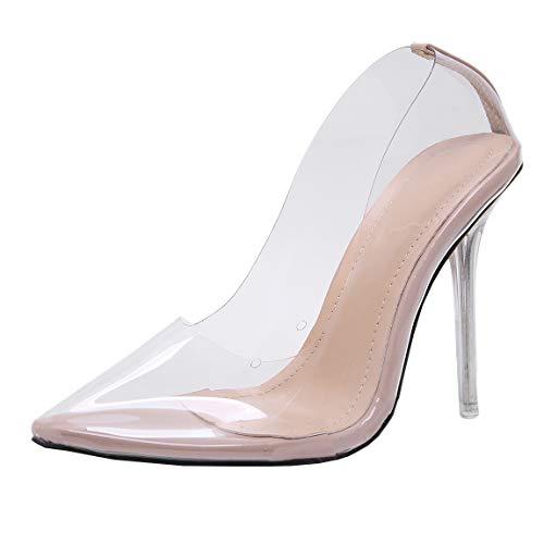 Dearney Damen Transparente High Heels Stiletto Pumps Spitz PVC Geschlossen Damenschuhe Durchsichtig(Beige,35)