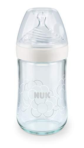 NUK Nature Sense - Biberon in vetro con tettarella in silicone a forma di seno e morbida zona di soffice, misura M, 240 ml, 1 pezzo, colore: Bianco
