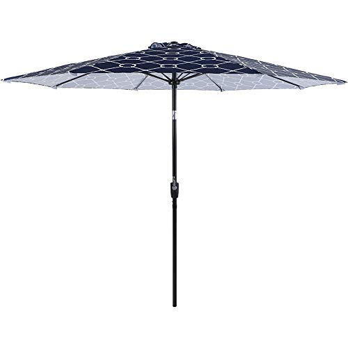 PHI VILLA 9ft Patio Umbrella, 8 Fiberglass Ribs Printing Polyester Canopy Outdoor Umbrellas with Crank & Auto-Tilt
