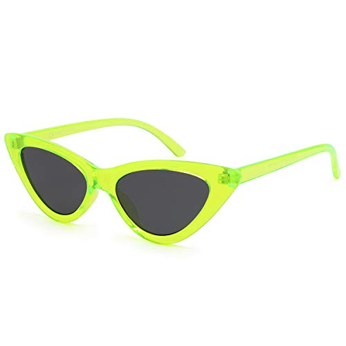 Livhò Retro Vintage Narrow Cat Eye Sunglasses for Women Clout Goggles Plastic Frame (Green)