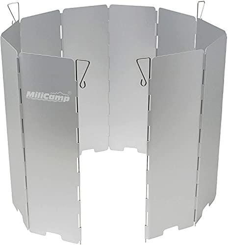 MiliCamp ウインドスクリーン 風除け アルマイト加工 風防 10枚プレート 防風板 ペグ4本 ソロキャンプ用 BBQ バーベキュー アウトドア 収納袋付 (強化版)