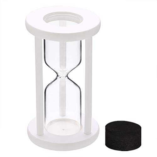 SuLiao Empty Hourglass Sand Clock Timer Set: White Wooden Frame without Sand Watch, reloj de arena, Large Hour Glass Sandglass Diy Fillable Unity Sand Ceremony Kit for Wedding Home, Desk, Office Decor