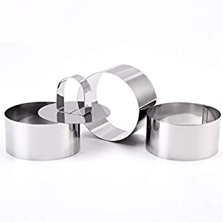 Astra Gourmet Round Food Molding Set, Plating Forming Rings, Stainless Steel Cutters/Food Ring Sets, 3.15 by 1.5-Inches High, Includes 3 Rings and 1 Fitted Press
