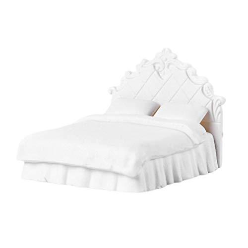 Baoblaze Puppenmöbel Schlafzimmer, Doppelbett Puppenbett Möbelset für 1/20 Puppenhaus