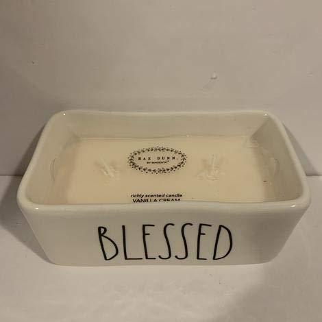 Rae Dunn BLESSED Square Vanilla Cream Candle - 5.5 x 3 x 2 inches - Ceramic