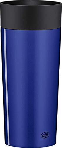 alfi Thermobecher isoMug Plus, Kaffeebecher to go Edelstahl blau 350ml, Isolierbecher mit Druckknopf, auslaufsicher, zerlegbarer Verschluss, 5627.255.035 spülmaschinenfest, 4 Stunden heiß, BPA Frei