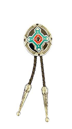 AW-Collection Bolo Tie Cravate Western Indien Ornement Cordon Cuir Réglable avec Clip Argent 92