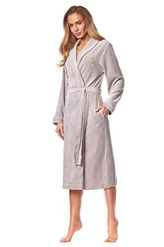 L & L -2035 badjas dames soft lange mouwen badjas. Extreem licht. Doorlopende badjas voor dames.