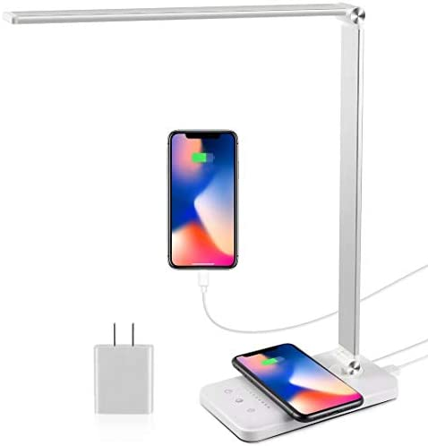 LED Desk Lamp with Wireless Charger USB Charging Port Modern Eye Caring Desk Lamps for Home product image
