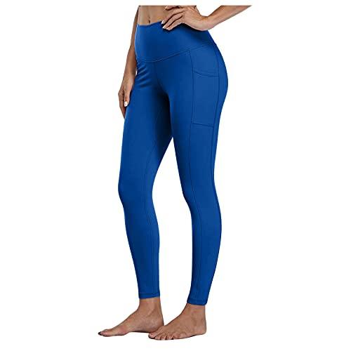 KYZRUIER Mujeres Casual Color Sólido Secado Rápido Ajustado Elástico Fitness Pantalones Largos Yoga Yoga Deporte Cintura Alta Yoga Entrenamiento de Bolsillo Correr Yoga Pantalones Largos