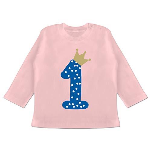 Geburtstag Baby - 1. Geburtstag Krone Junge Erster - 12/18 Monate - Babyrosa - Baby 1. Geburtstag Junge - BZ11 - Baby T-Shirt Langarm