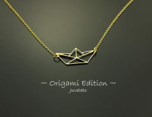 Kette Origami Boot Segelboot Anhänger golden Juvelato
