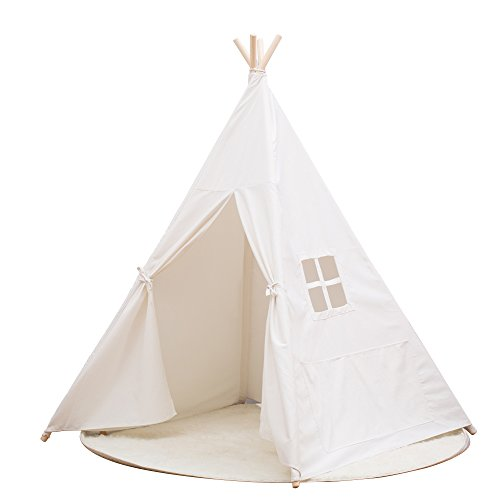 small boy Kids Teepee Play Tents Indian Playhouse with 4 Wooden Poles 145cm … (White)
