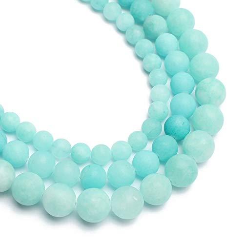 YUXIwang Pulsera Piedra Natural Mate Helada Azul amazonita jades Cuentas 6mm 8mm 10mm para la joyería Que Hace Bricolaje Collar de Pulsera (Item Diameter : 10mm 36pc)