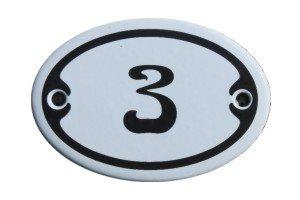Nummer 3 Mini Emaille Schild Jugendstil ca. 4,2 x 6,2 cm Türschild Zimmer Schublade Schrank Kommode...