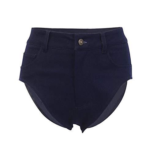 Pantalones Cortos de Mezclilla Sexis de Verano para Mujer, Pantalones Cortos Lavados y Desgastados de Cintura Alta con Botones básicos clásicos y Tapeta con Cremallera Small