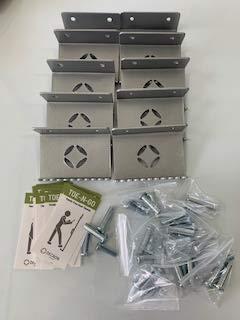 Foot Pull Door Opener 10 Pack Silver NO Touch Hands Free, DECRON Toe-N-GO Foot Operated Door Opener for Bathrooms and Commercial Buildings (10)
