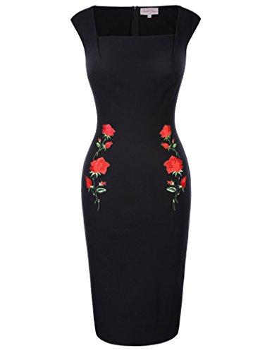 GRACE KARIN festlich Blumen Kleid Damen Rockabilly Kleid Kurzarm ballkleid Partykleid L BP0328-1
