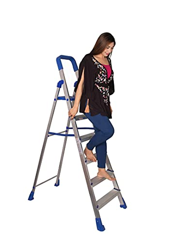 Parasnath Maple 6 Step Light Weight Aluminium Step Ladder 6.2 Ft Heavy Duty Folding Ladder Made in India