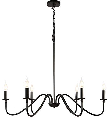 6-Light Modern Industrial Iron Chandeliers,Large Dia 34.65' inches Black Farmhouse Chandelier,Classic Fashion Candle Ceiling Pendant Light,Great for Kitchen Island,Dining Room,Living Room,Bedroom