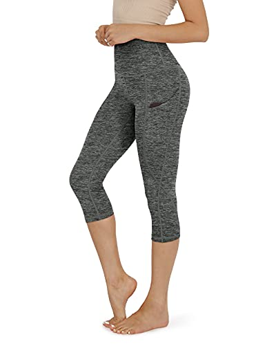 ODODOS Women's High Waisted Yoga Capris with Pocket, Workout Sports Running Athletic Capris with Pocket, CharcoalHeather,Medium
