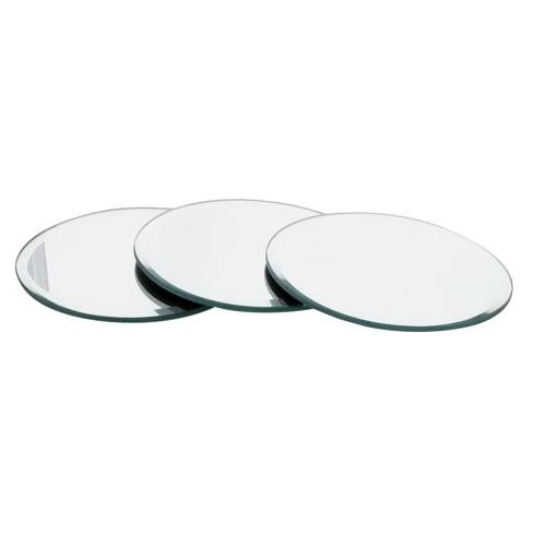 Set of 3 Mirror Candle Coasters Plate 12.5cm Bevelled Edge Contemporary Style