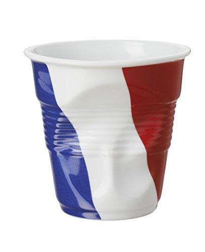 REVOL 647346 GOBELET Cappuccino FROISSE, Porcelaine, Blanc Drapeaux France
