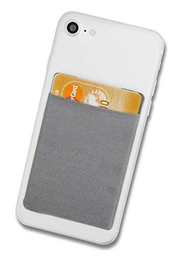 Cardsock Cardsock - Wiederverwendbarer Handy Kartenhalter, Kartenfach - RFID Blocking Smartphone Wallet für Kreditkarten & Bargeld in grau
