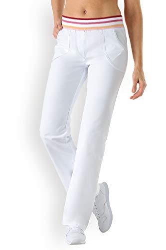 CLINIC DRESS Damenhose mit elastischem Bund weiß/bunt 40