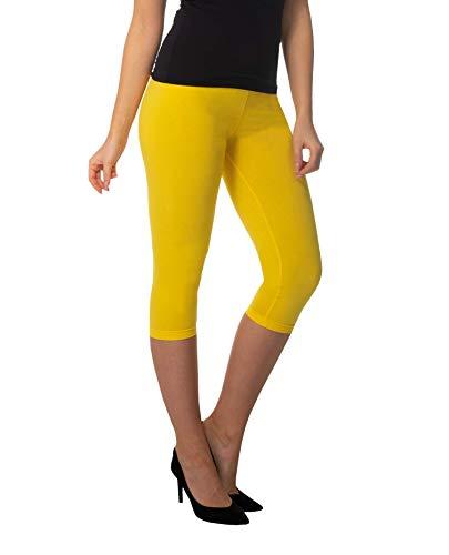 Leggins amarillos mujer., Largo 3/4. Algodón Amarillo.