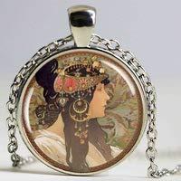 Alphonse Mucha Halskette, Vintage Art Charm, Mucha Byzantinische Kunst Anhänger, Jugendstil Schmuck, Neoklassizistische Art Schmuck, Rund Br