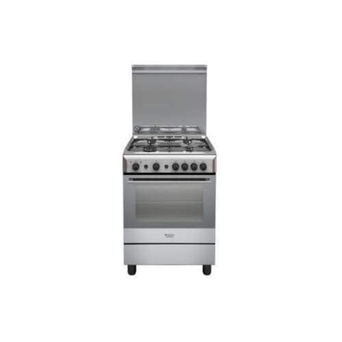 Hotpoint H6GG1F (X) IT Autonome Cuisinière à gaz A Argent four et cuisinière - fours et cuisinières (Cuisinière, Argent, boutons, Devant, Cuisinière à gaz, Moyenne)