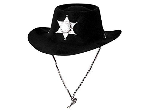 Alsino Kunststoff Samt Karneval Scherzartikel Cowboy Hut Sheriff Plastik Stern Partyhut Fasching, Variante wählen:Sheriff Hut schwarz