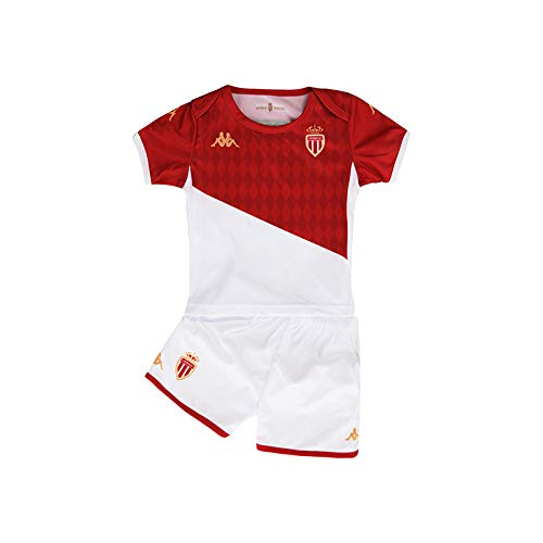 Kappa Kombat Baby Kit Home Monaco Maillots Mixte Enfant, Blanc/Rouge, FR Unique (Taille Fabricant : 18M)