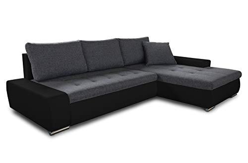 Ecksofa mit Schlaffunktion Faris - Couch mit Bettkasten, Big Sofa, Sofagarnitur, Couchgarniitur, Polsterecke, Bett (Schwarz + Graphit (Madryt 1100 + Inari 94), Ecksofa Rechts)