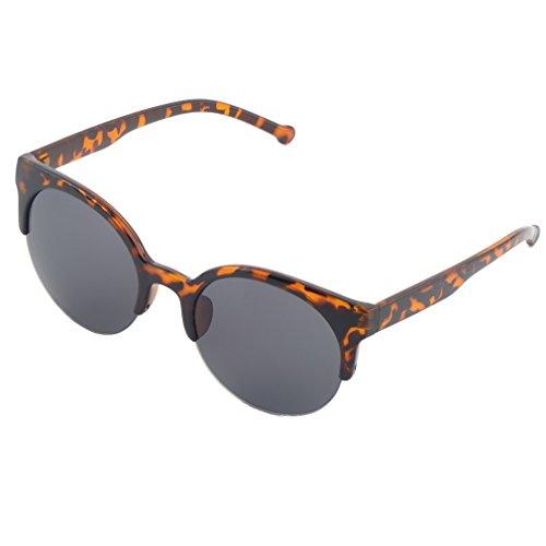 WXZQ Diseño de Moda Unisex Clásico Forma Redonda Marco Circular Gafas de Sol Semi sin Montura Gafas Hombres al Aire Libre Mujeres Gafas de Sol Leopardo