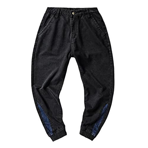 GYSAFJ Pantalones vaqueros de los hombres pantalones de carga de Harajuku Casual Cool Drawstring Sweatpant Pantalones, Negro, 4X-Large