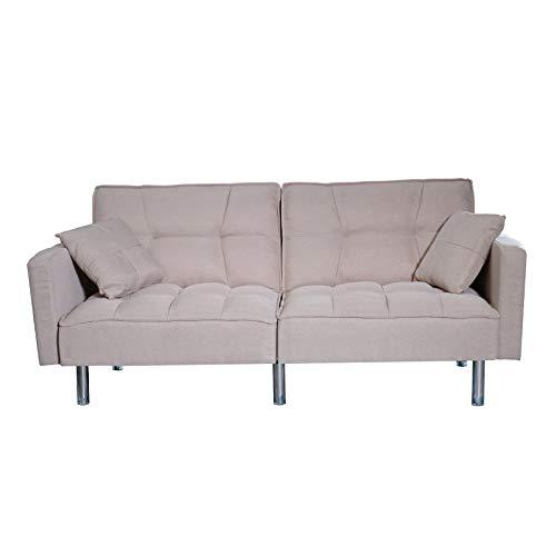 Sofa Divano Letto Crema RECLINABILE in Tessuto Crema 3 POSTI con 2 Cuscini 196 X 68 X 85 CM